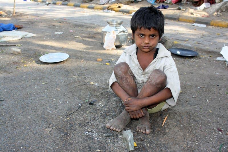 印第安孩子streetside 免版税图库摄影