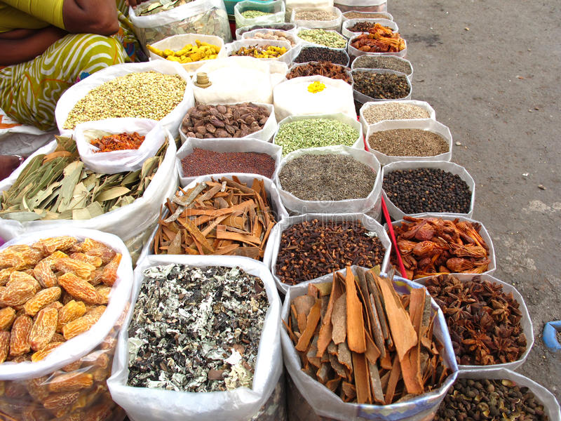 印第安市场香料 免版税库存照片