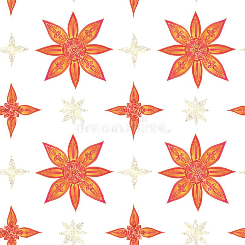 印第安模式无缝的样式 在红颜色的抽象莲花与在白色背景的金子等高 向量例证