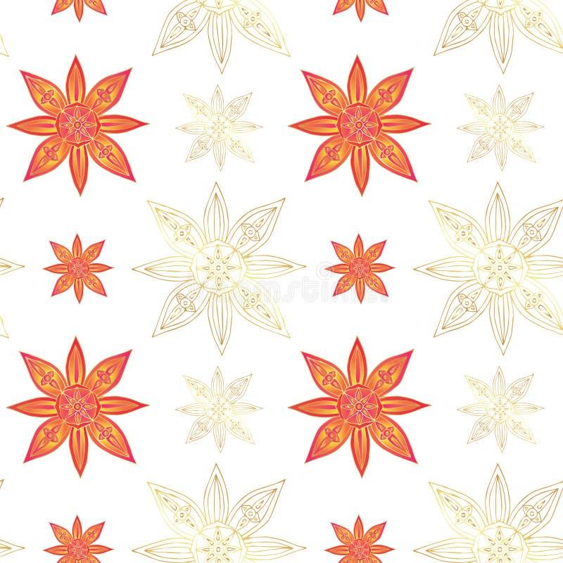 印第安模式无缝的样式 抽象莲花和星在红颜色与金子等高在白色背景 向量例证