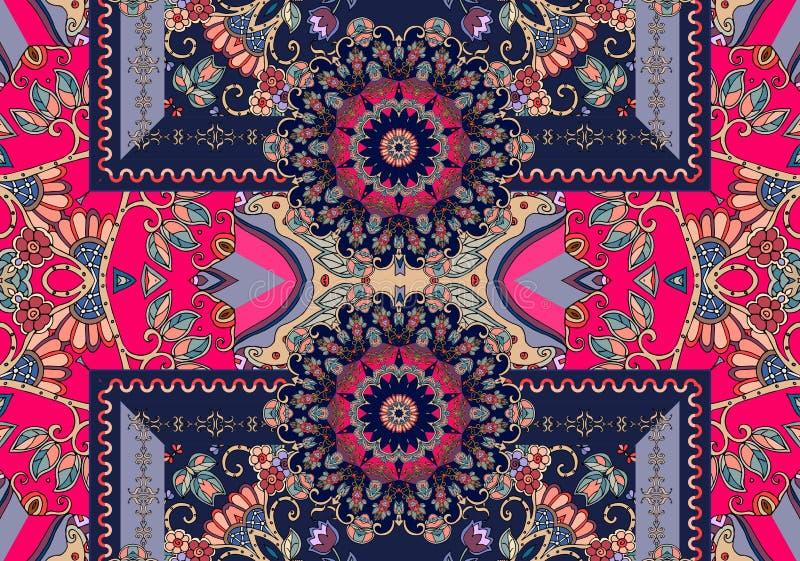 印第安模式无缝的样式 独特的地毯 2007个看板卡招呼的新年好 向量例证