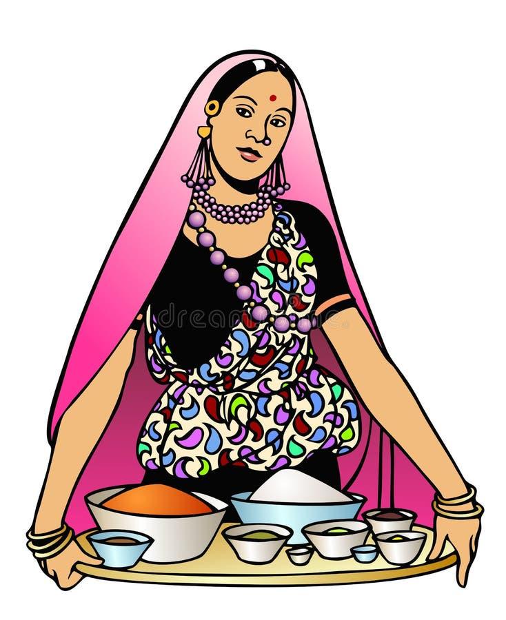 印第安烹调 向量例证