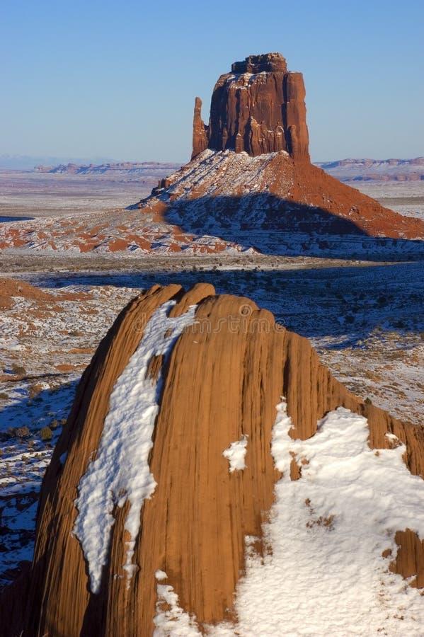 印第安纪念碑那瓦伙族人公园部族谷冬天 免版税库存图片
