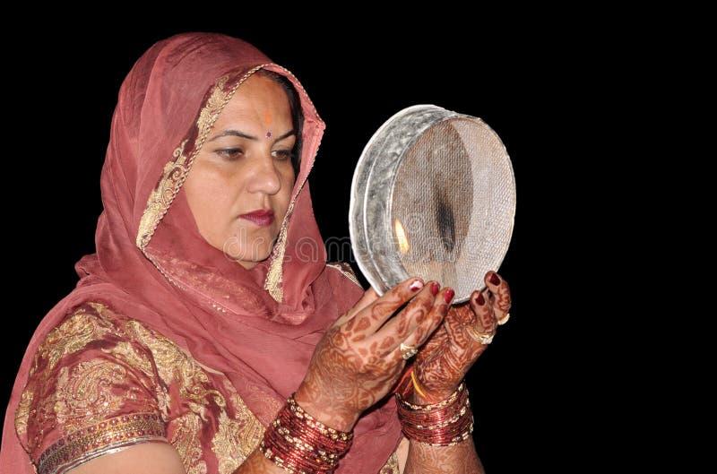 印第安纯传统妇女 免版税库存照片