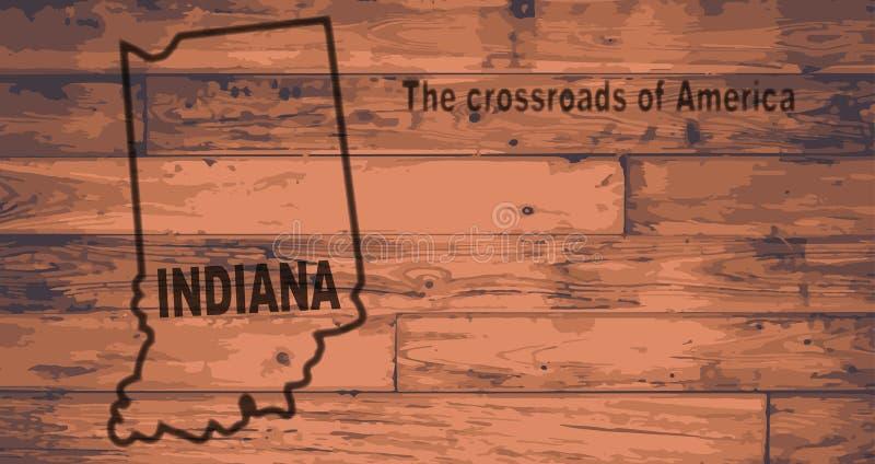 印第安纳地图品牌 向量例证