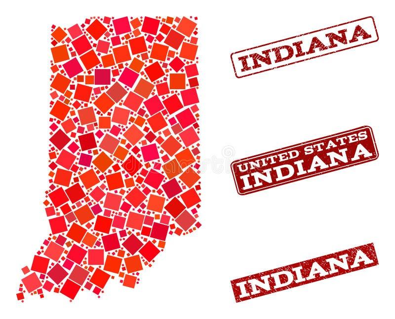 印第安纳州和织地不很细学校邮票拼贴画军用镶嵌地图  皇族释放例证