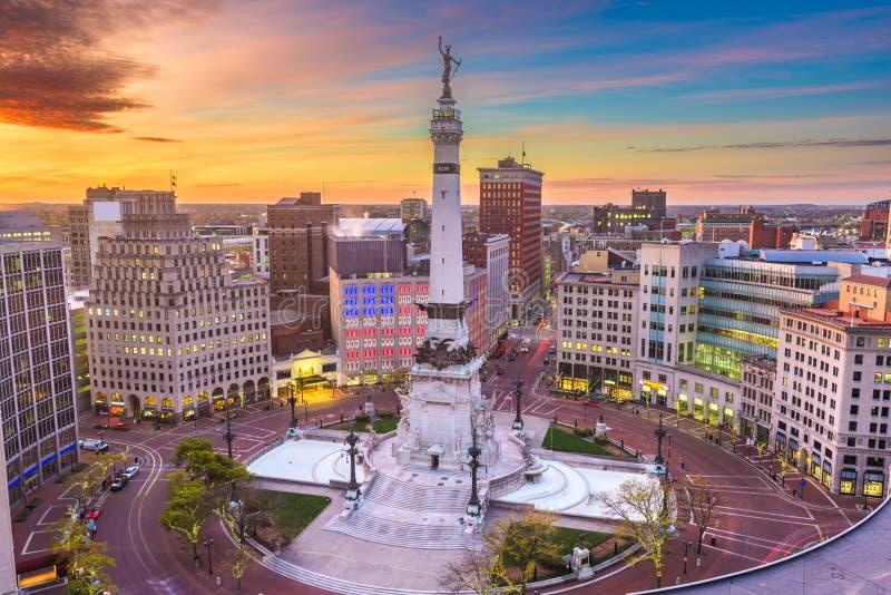印第安纳波利斯、印第安纳、美国都市风景和纪念碑 库存照片