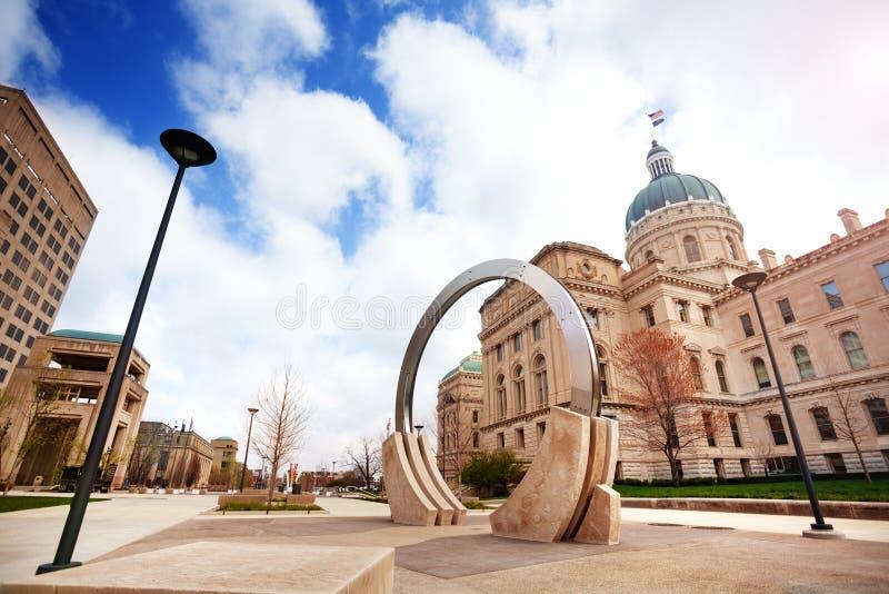 印第安纳波利斯二百年广场和州议会议场 图库摄影