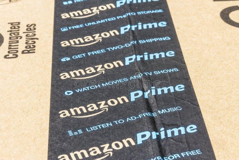 印第安纳波利斯-大约2016年9月:亚马逊最初小包包裹 改良 com是一个首要的网上零售商我 库存图片