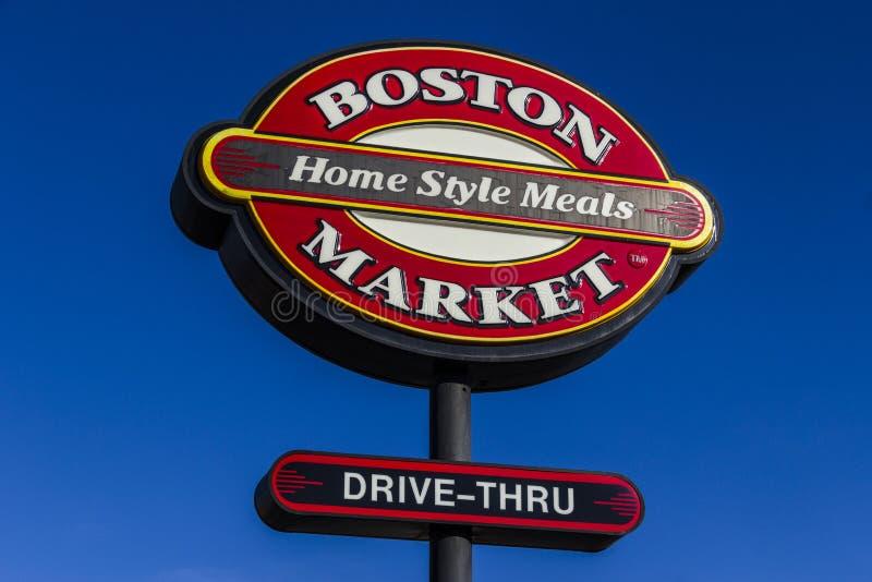 印第安纳波利斯-大约2017年2月:波士顿市场快速的偶然餐馆的商标和标志我 免版税库存照片