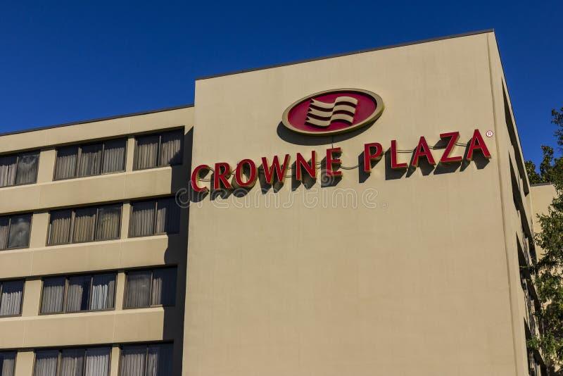 印第安纳波利斯-大约2016年10月:Crowne广场机场旅馆地点 Crowne广场是洲际酒店集团II的一部分 图库摄影