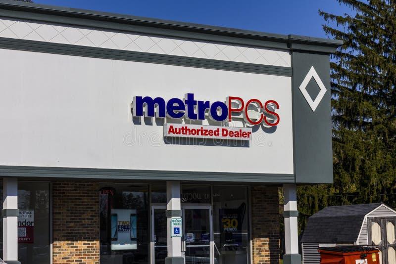 印第安纳波利斯-大约2016年11月:MetroPCS零售地点 MetroPCS是一部分的T流动II的一项预付的无线服务 免版税图库摄影