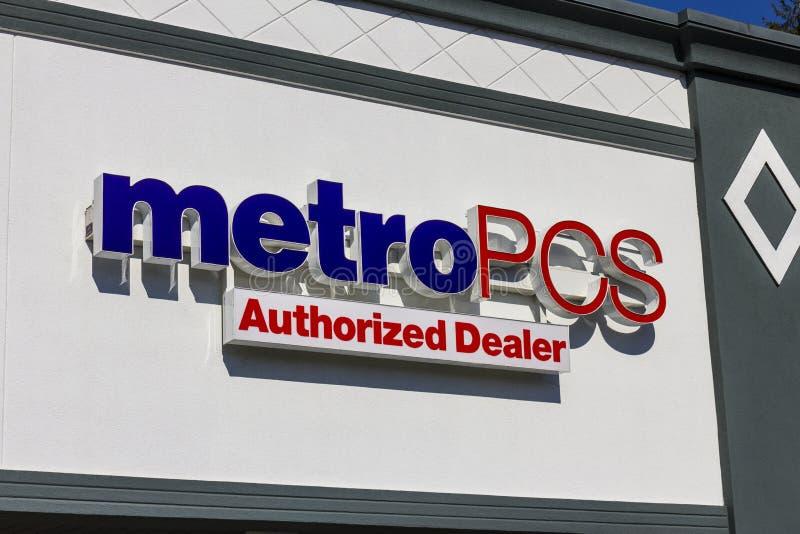印第安纳波利斯-大约2016年11月:MetroPCS零售地点 MetroPCS是T流动I的一部分的一项预付的无线服务 免版税库存照片