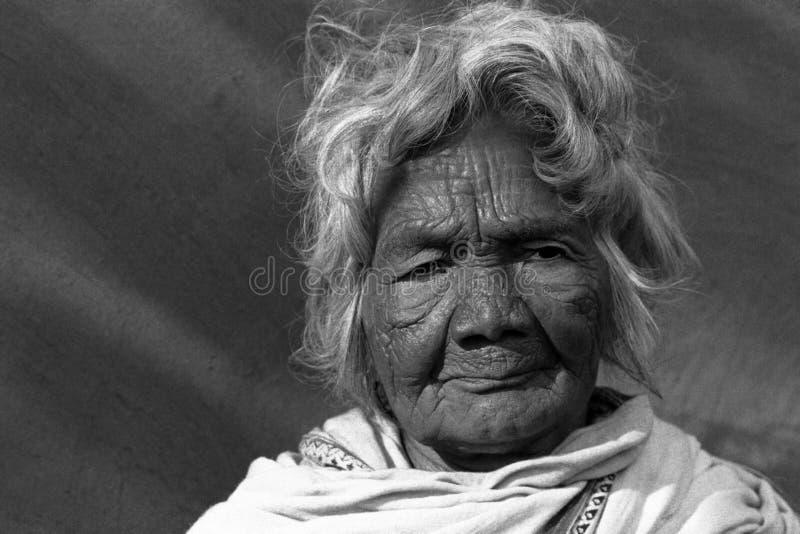 印第安老部族妇女 库存照片