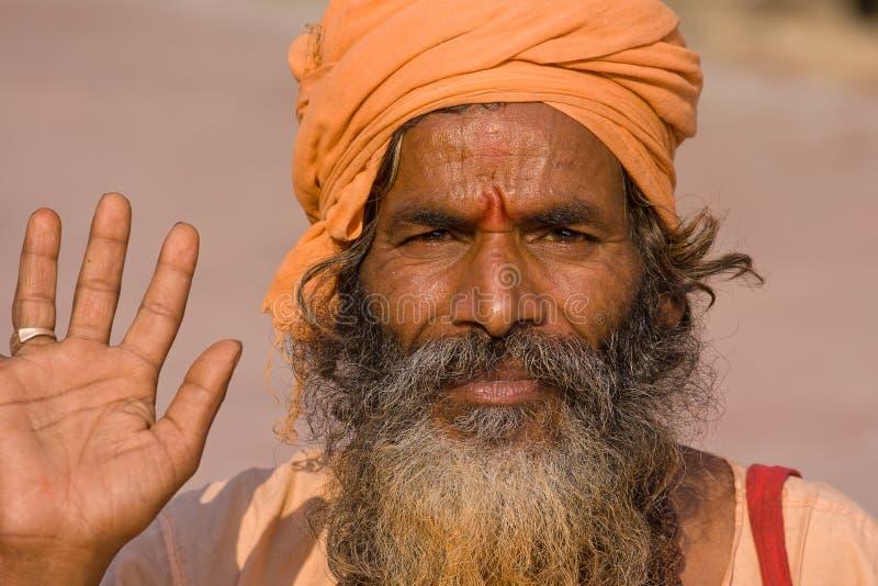 印第安sadhu欢迎 免版税库存照片