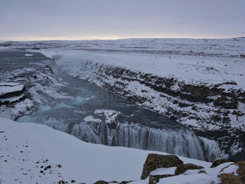 印象深刻的古佛斯瀑布瀑布在冰岛 图库摄影