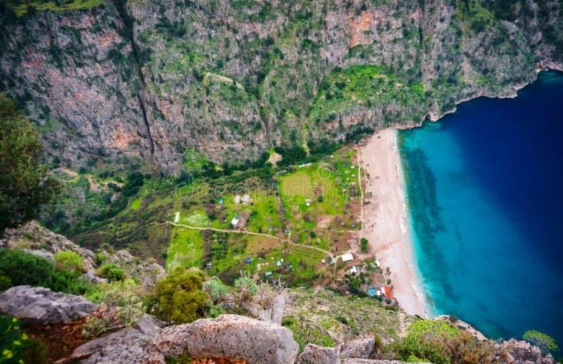 印象深刻的海滩在Oludeniz,费特希耶,Mugla,土耳其叫蝴蝶谷 Lycian?? r 库存图片