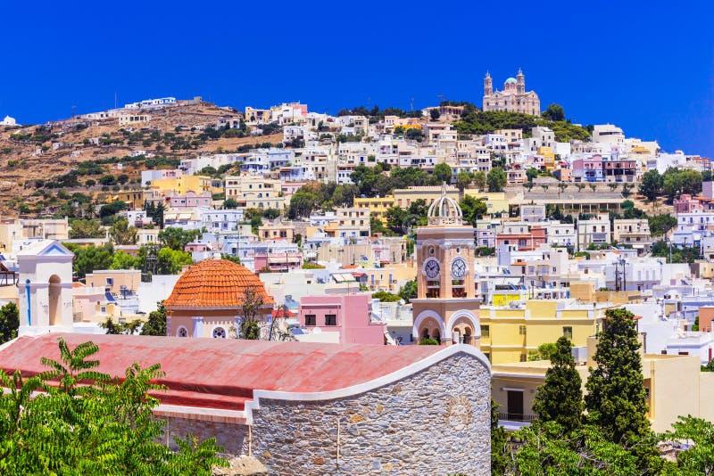 印象深刻的锡罗斯岛海岛, Ano锡罗斯岛村庄,希腊看法  库存图片