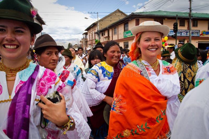 印锑秘鲁货币单位Raymi庆祝在卡扬贝火山,厄瓜多尔 免版税图库摄影