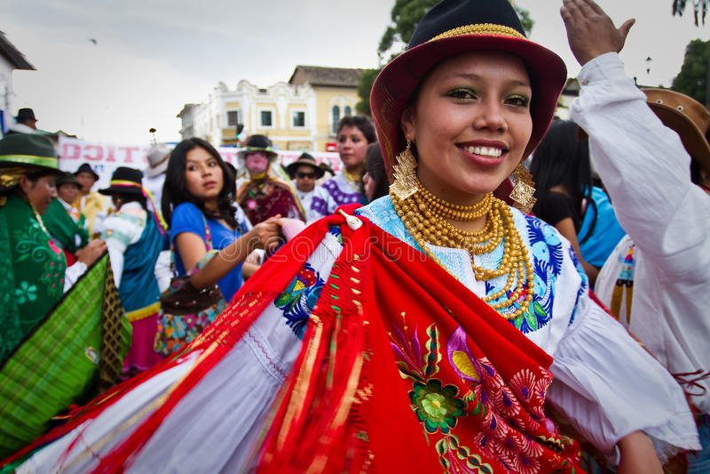印锑秘鲁货币单位Raymi庆祝在卡扬贝火山,厄瓜多尔 图库摄影