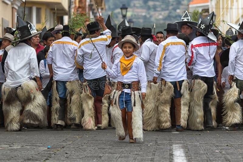 印锑秘鲁货币单位Raymi庆祝的Kichwa男孩 库存照片