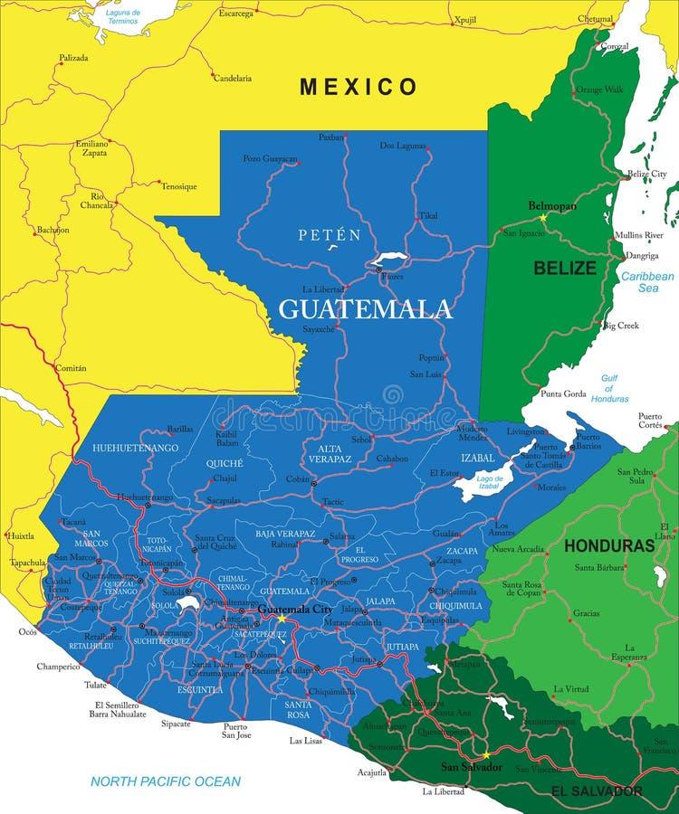 危地马拉地图 库存例证