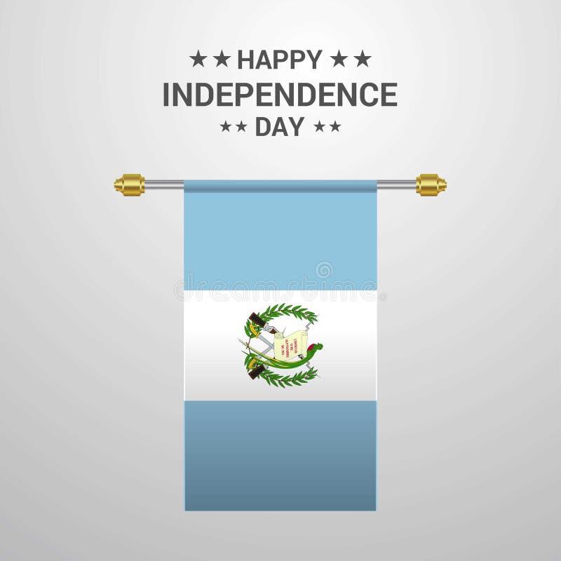 危地马拉独立日垂悬的旗子背景 库存例证