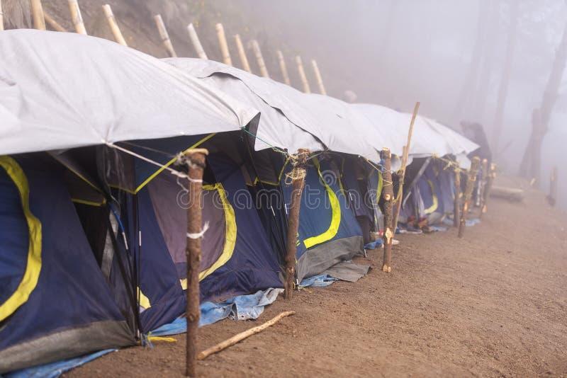 危地马拉阿卡特南戈火山帐篷 图库摄影