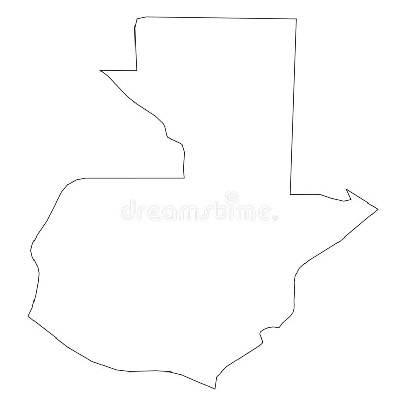 危地马拉-国家区域坚实黑概述边界地图  简单的平的传染媒介例证 皇族释放例证