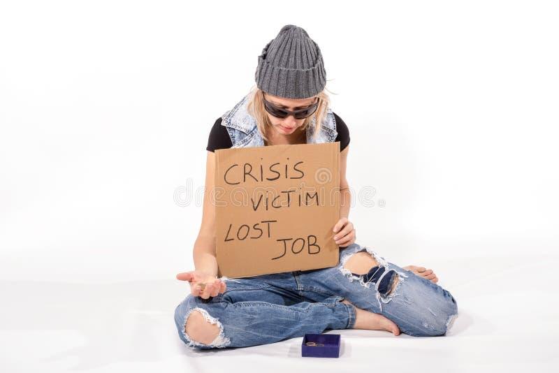 危机受害者无家可归者 免版税库存图片