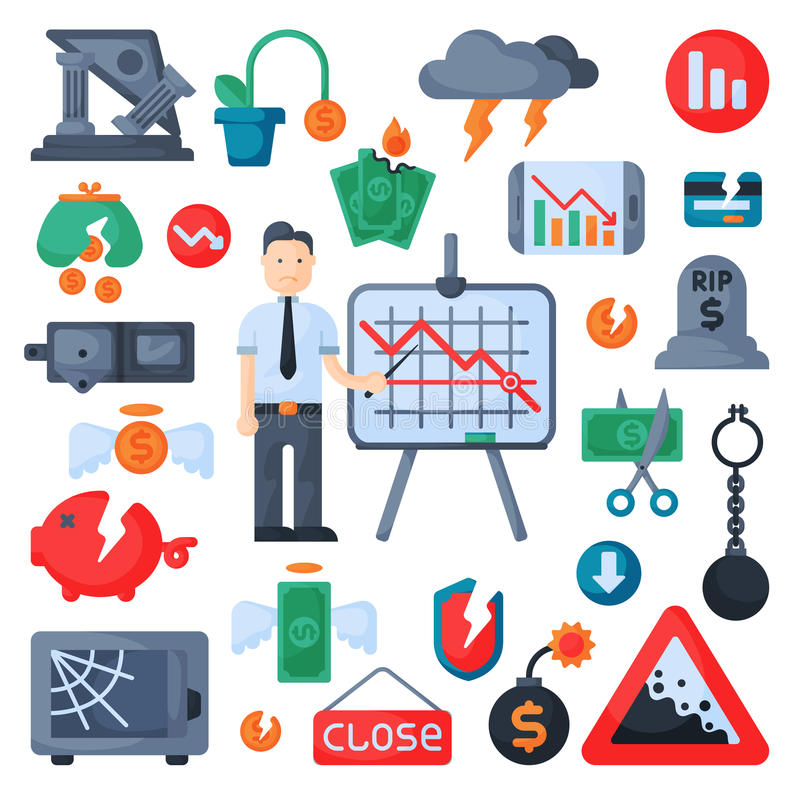 危机标志概念问题经济银行业务财务设计投资象设置了传染媒介 皇族释放例证
