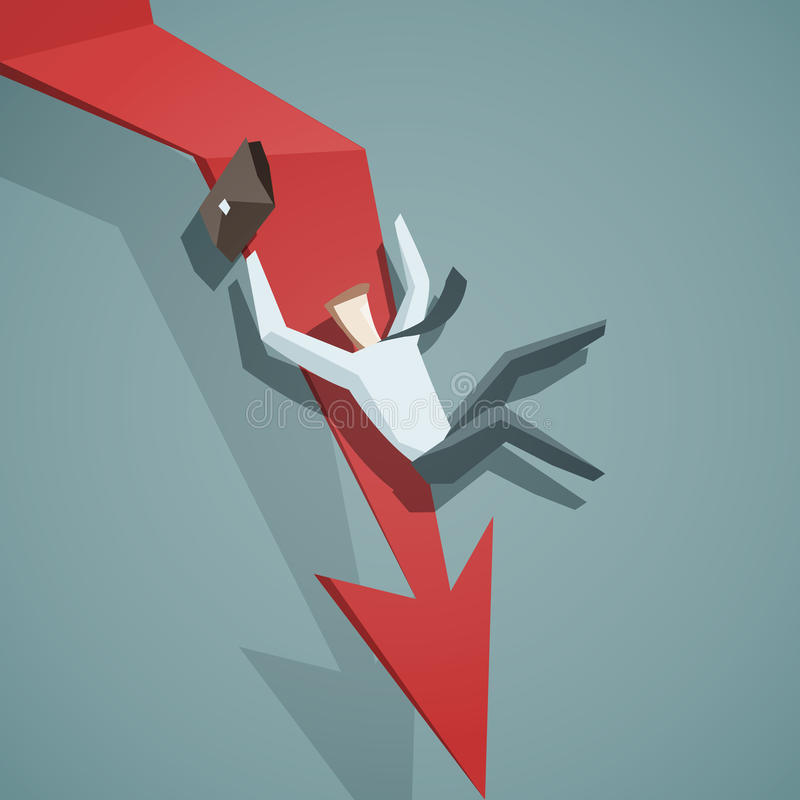 危机概念-下来箭头的图表和商人是falli 向量例证