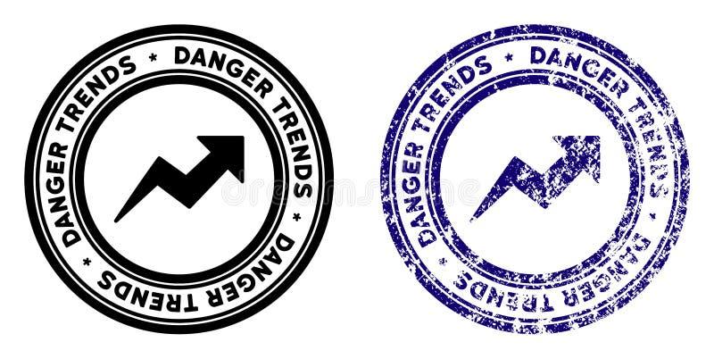 危险与困厄作用的趋向邮票 向量例证