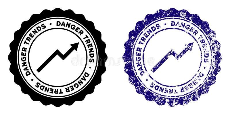 危险与困厄纹理的趋向邮票 向量例证