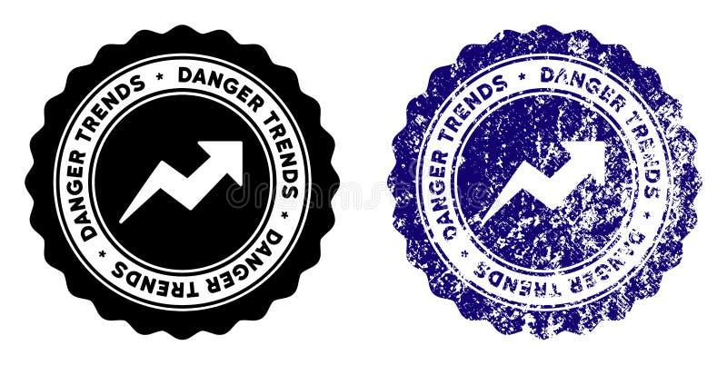 危险与困厄纹理的趋向邮票 库存例证
