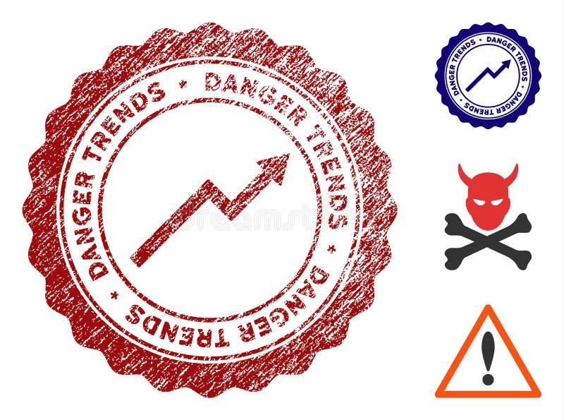 危险与肮脏的纹理的趋向邮票 向量例证