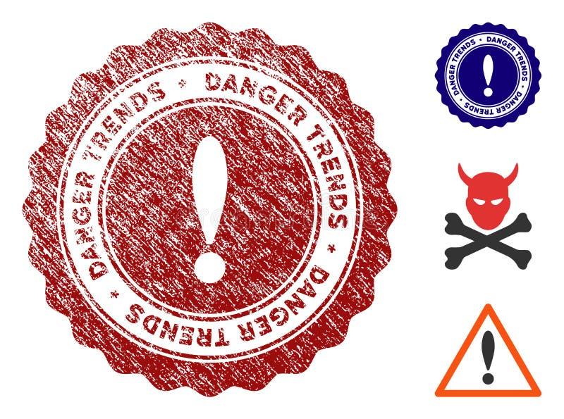 危险与肮脏的纹理的趋向邮票 库存例证