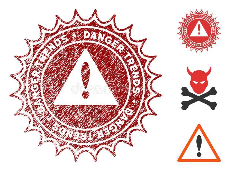 危险与脏的纹理的趋向邮票 库存例证