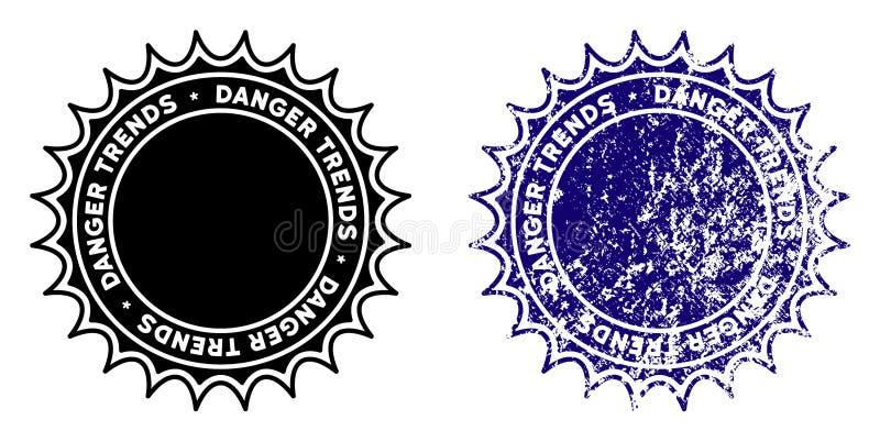 危险与被抓的表面的趋向邮票 库存例证