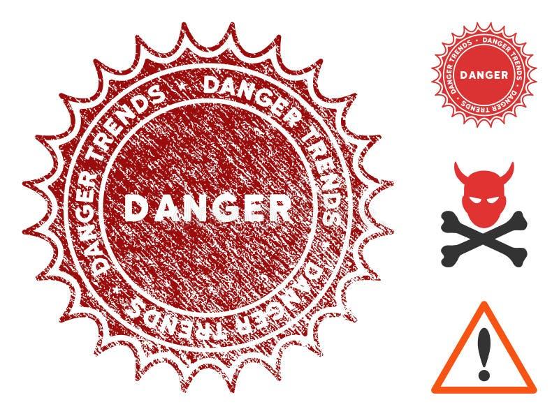 危险与难看的东西样式的趋向邮票 库存例证