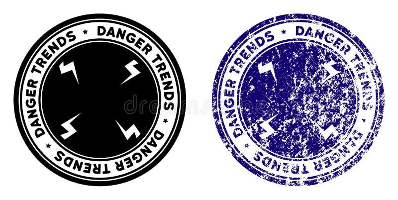 危险与难看的东西纹理的趋向邮票 库存例证