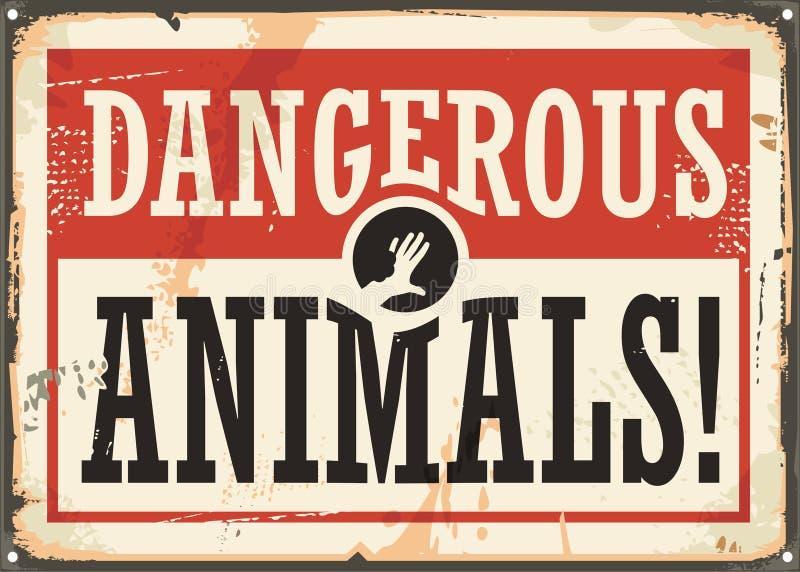 危险动物减速火箭的警报信号 向量例证