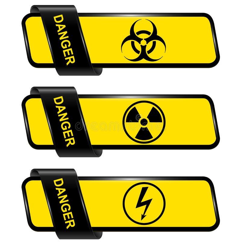 危险和警告横幅 库存例证