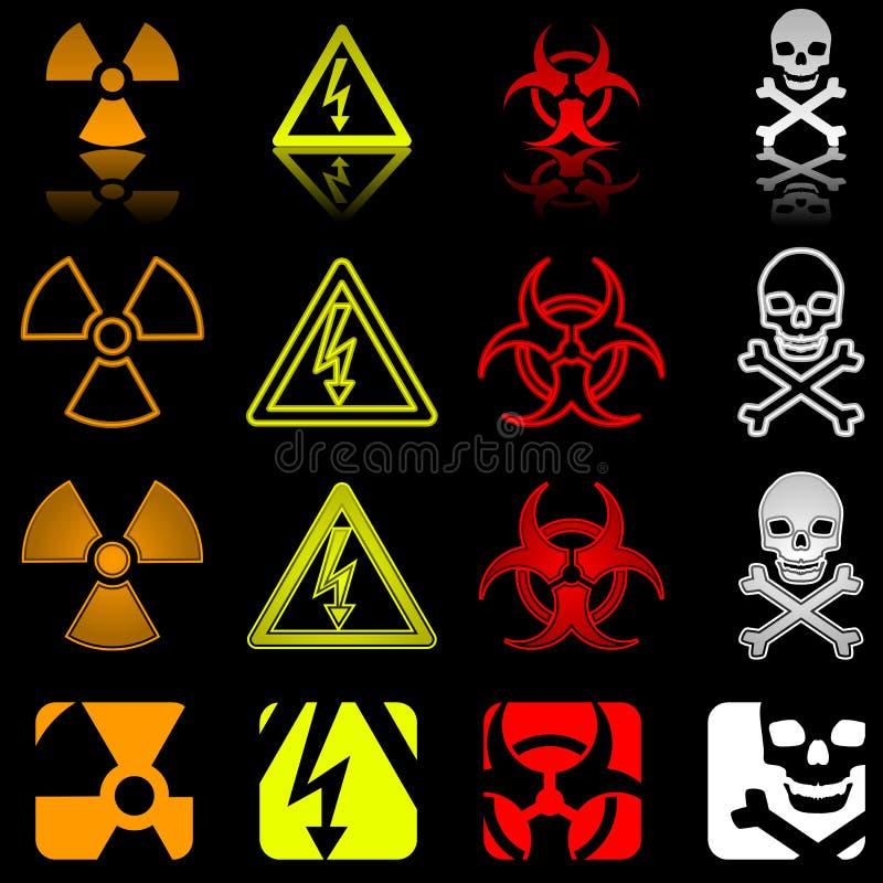 危险四多种图标样式 库存例证