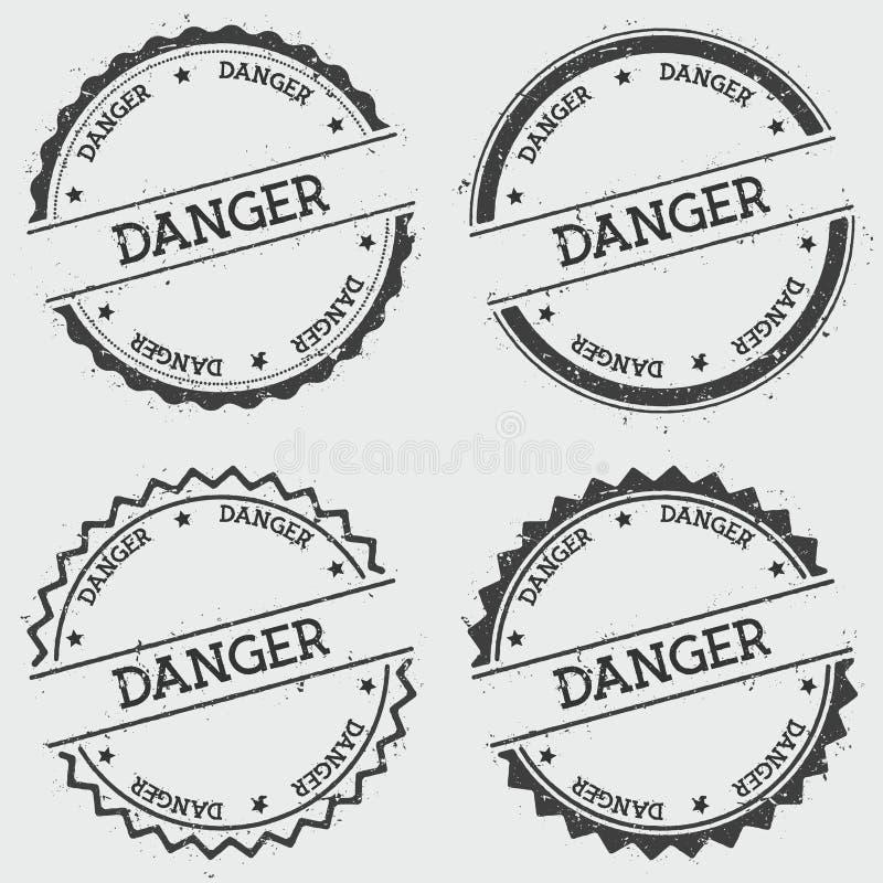 危险在白色隔绝的权威邮票 库存例证