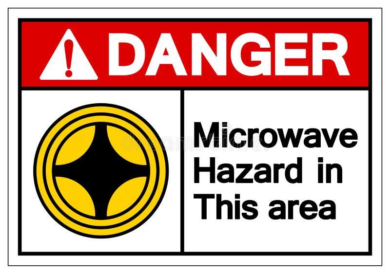 危险在这个区域标志标志的微波危险,传染媒介例证,在白色背景标签的孤立 EPS10 库存例证