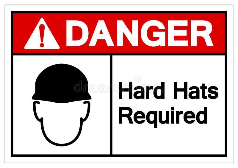 危险安全帽要求标志标志,传染媒介例证,在白色背景标签的孤立 EPS10 向量例证