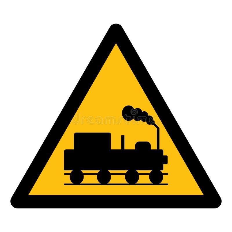 危险当心火车标志在白色背景,传染媒介例证EPS的标志孤立 10 向量例证