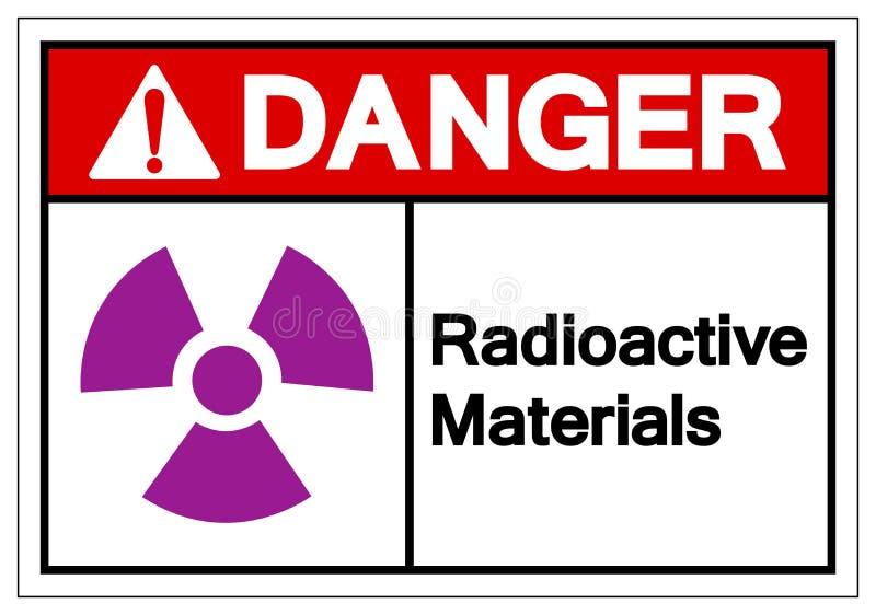 危险放射性材料标志标志,传染媒介例证,在白色背景标签的孤立 EPS10 皇族释放例证