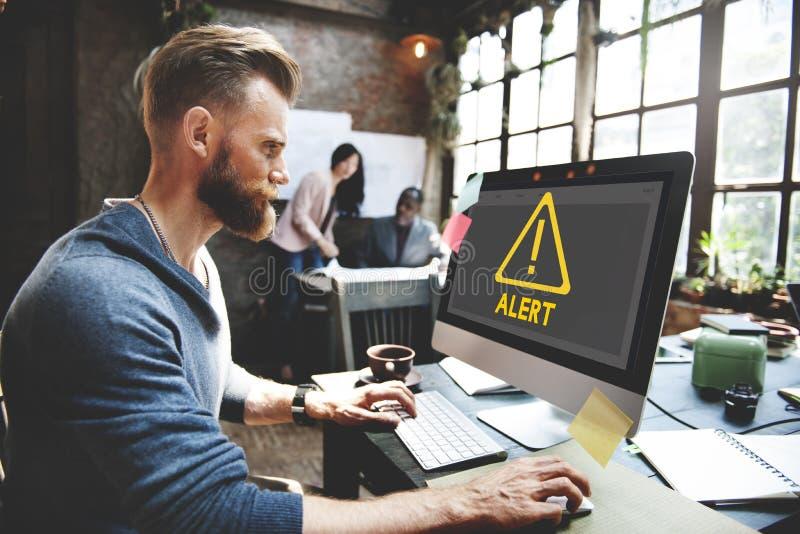 危险机敏的警告通知当心提示惊叫C 库存照片